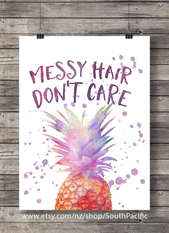 Messy Hair Dont Care Pineapple Kids Room Decor