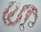 Light Ice Pink Bracelet Victorian Bracelet Crystal Toggle Clasp Leverback Hooks in Silver