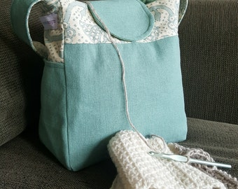 "Knitting Bag, Medium tote, small bag, green handbag, Yarn Dispenser, Project bag, 11"" x 9.5"" x 6"", purse, bag, organizer, storage, crochet"