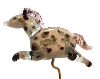 Glass horse sculpture, Lampwork glass beads, dappled grey horse pendant, handmade miniature ornament, animal bead, glassbead, lamp work bead