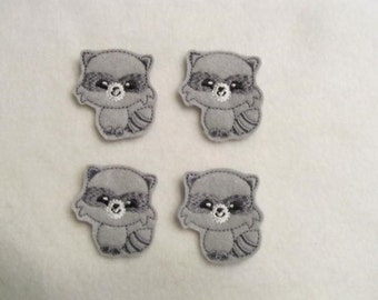 4 Felt RACCOON Applique Embellishments Style GS