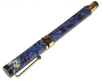 Rollerball Pen Blue Box Elder Wood Classic Rollerball Pen with Gold Trim 301 Handmade