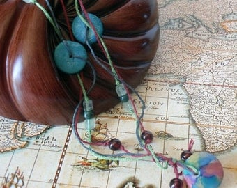 Boho Bohemian Necklace: beaded multi color polymer clay lentil, fluorite, glass, bamboo