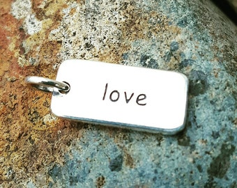 Love Word Charm - Double Sided - Sterling Silver - Love Necklace - I Love You - Heart Chakra
