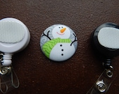 Fabric Covered Button for Clip on Retractable Badge Reel - Snowman