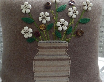 Recycled Cashmere Decorative Flower Pillow in Brown - White and Brown Flowers in Canning Jar
