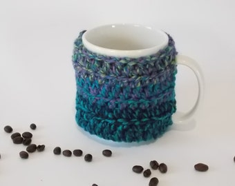 crocheted coffee cuff mug cup cosy cover  teal turquoise purple blue