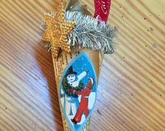 5 inch cone vintage style Christmas ornament