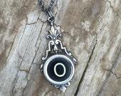 Letter O  Vintage Typewriter Key  Drop Necklace