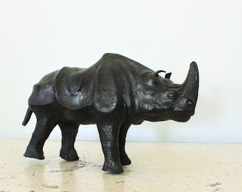 Vintage Antique Leather Black Rhino Figurine Sculpture Miniature Taxidermy