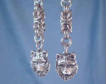 Wolf Earrings Chainmail Animal Jewelry  Stainless Steel Chainmaille Rings Byzantine Full Moon Wolves Protection Totem Charms chain mail