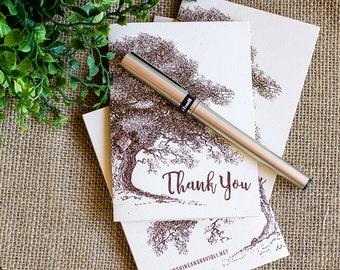 Thank You Notes set of twenty Oak and Acorn Rustic Autumn Wedding