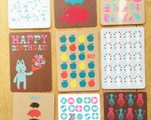 set of 10 Screen printed post cards with envelopes