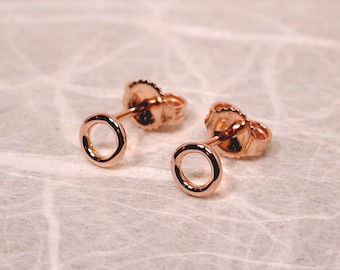 5mm Tiny Solid 18k Rose Gold Circle Stud Earrings Minimal Jewelry by Susan Sarantos