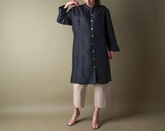 black silk midi shirt dress / minimalist dress / oversized black dress / m / l / 1328d