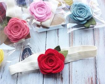 SALE PRICING - HeadbandWool Felt Flowers - Large Posie Headbands - Foldover Ivory Elastic - 4 Headband Lot - Ready to Ship