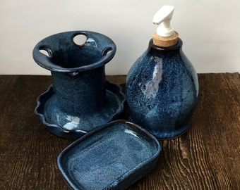 Cobalt Blue Bathroom Set Wheel Thrown Pottery