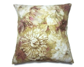 Decorative Pillow Cover Floral Design Subtle Shades of Red Pink Olive Green White Same Fabric Front/Back Toss Throw Accent 18x18 inch x