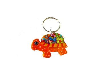 Turtle key chain, Key chain, Keychain, Key holder, unique key chain, bag decorate, Cute key chain, Colorful turtle, Turtle lover gift, Key