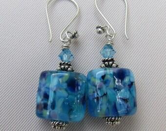 Cool Waters Lampwork Earrings - Silver