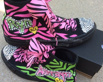 Custom Converse High Tops, Painted Personalized Shoes, Black, Hot Pink, Lime Green, Bling Shoes, Birthday Present for Sweet 16, Teen Girls