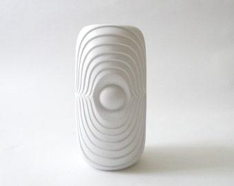 SUMMER SALE Modernist Bisque Op Art Vase by KPM White Porcelain Bavaria Germany Matte Porcelain Wgp
