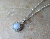 Blue Lace Agate Pendant Necklace Sterling Silver, Princess Crown Gallery Bezel, Womens Jewelry, Gift for Her, Gift for Her, Blue Necklace