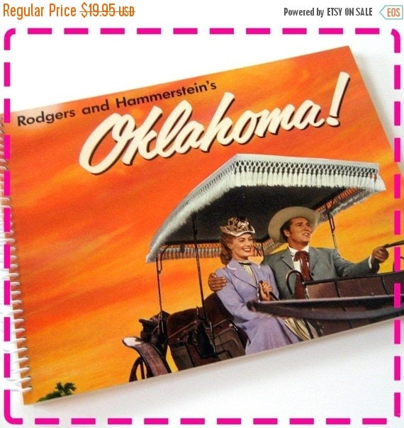 SALE 40% OFF--- Record Album Journal, Rodgers and Hammerstein's OKLAHOMA, Recycled Upcycled, Retro Record Album Cover Journal Notebook, Vint