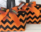 Halloween Trick or Treat Candy Bag Basket Bucket - Orange and Black Chevron Fabric - Choose the Size - Large or Small