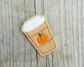 Pumpkin Spice Latte Feltie - Planner Clip, Magnet or Hairclip (bookmark, planner or journal clip)