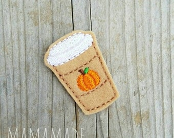 Pumpkin Spice Latte Feltie - Planner Clip, Magnet or Hairclip (bookmark, planner or journal clip)