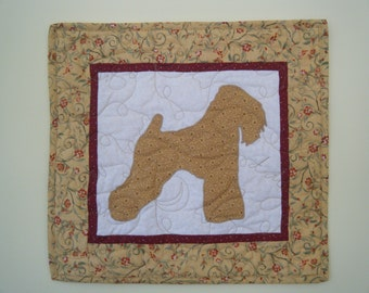 SALE --- Wheaton  - Quilted Mini Dog Wall Hanging 16 x 15