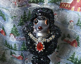 Blown Glass Black Poodle Christmas Ornament with Crystal Beads, Handmade Hanger with Swarovski Crystal Beads, Dog Lover Gifts LAST ONEs