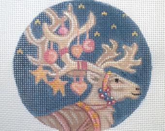 Handpainted needlepoint canvas Decorated Reindeer needlepoint canvas