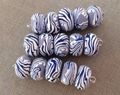 Zebra Pansy Disk Beads (Set of 5)