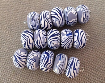 Zebra Pansy Disk Beads (Set of 5)