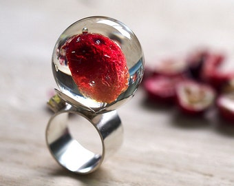 TAKE A BITE, Cranberry Resin Ring, Sterling Silver Ring, Resin Jewellery
