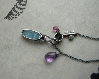 Grow - Kyanite Amethyst and Pink Tourmaline Sterling Silver Necklace