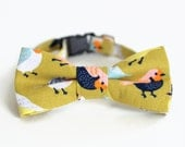 Bird Cat Bow Tie Collar - birds on green cotton cat bowtie - kitten bow tie - dog bow tie - adjustable collar - photo prop for pets - gift
