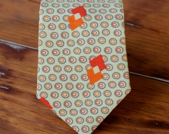 Mens Necktie - Ovals with Triangles in Cream Orange Red Cotton Print tie - traditional self-tying men's necktie - mens, teen boys necktie