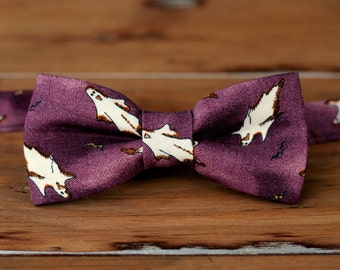 Boys Halloween Bow Tie - Ghost Purple Cotton Bow Tie, baby infant toddler child kid bowtie, pretied, adjustable, novelty bow tie, costume