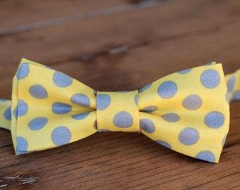 Mens Yellow Gray Bow Tie - polka dot bow tie - mens cotton bow tie - pre-tied bowtie - summer tie - mens wedding bow tie - grooms tie - gift