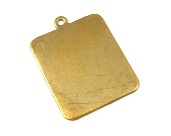 Brass Rectangle Engraving Pad Charms (6X) (M599-A)