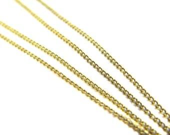 Dainty Vintage Brass Curb Chain (10 Feet) (CP241)