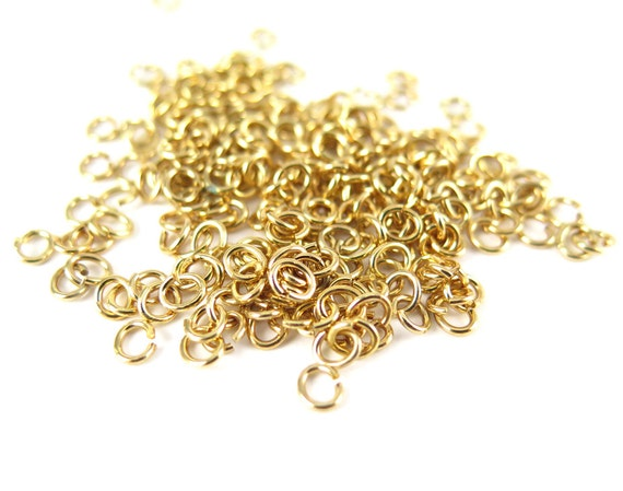 Gold Plated 4x5mm Oval Jump Rings - 12 grams (approximately 250x) (20 gauge) K858-C
