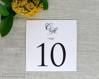 Monogram Table Numbers, Wedding Table Numbers, Formal Table Numbers, Classic Table Numbers, Black Tie Table Numbers, Printed Table Numbers