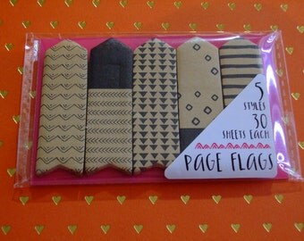 Planner Page Flags - Black And Kraft