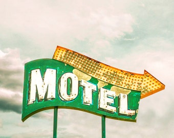 "vintage neon sign, vintage sign, motel sign, mid century modern, wall art, large art, large wall art, art print, rustic - ""Vacation Neon"""