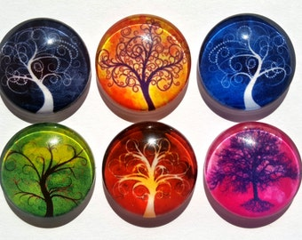 Tree of Life Glass Circle Magnets. Strong Magnet Set of 6 Circle Magnets. Round Magnets - Kitchen Decor. Office Decor. Party Favors. Gifts 1