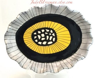 Stoneware Ceramic Oval Plate Serving Platter Clown Triggerfish Pearl Grey Ready to Ship PL0005